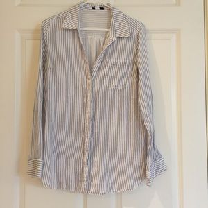 Oversized stripped button up